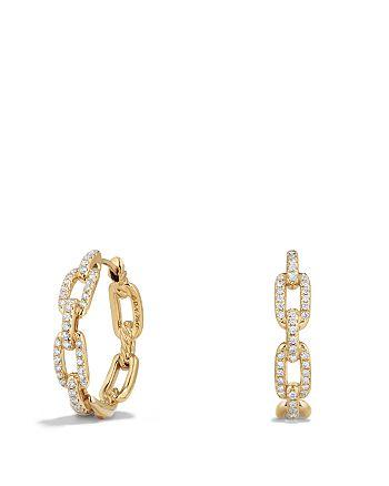 David Yurman - Stax Medium Chain Link Hoop Earrings with Diamonds in 18K Gold