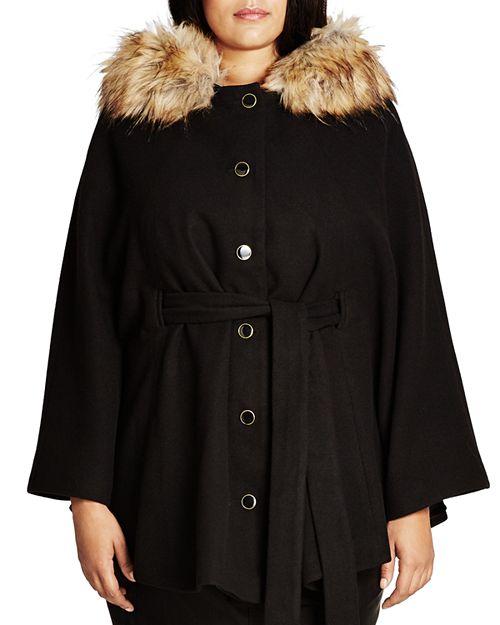 City Chic Plus - Faux Fur Capelet Coat