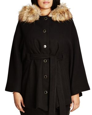 City Chic Faux Fur Capelet Coat