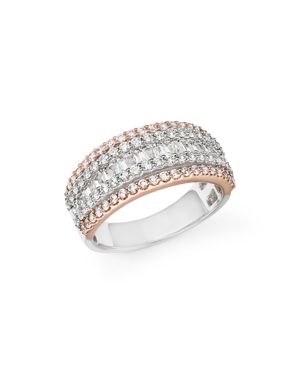 Diamond Round and Baguette Band in 14K White and Rose Gold, 1.20 ct.t.w. - 100% Exclusive