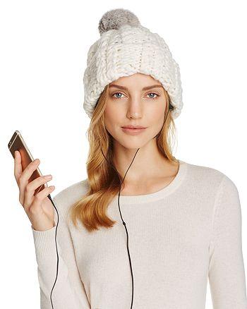 Rebecca Minkoff - Cable Knit Tech Beanie with Fur Pom-Pom