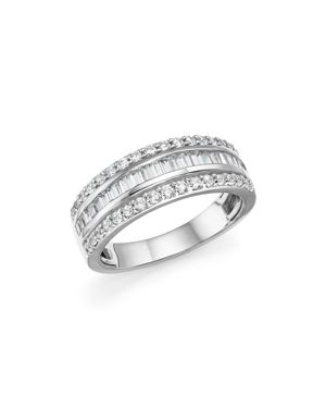 Diamond Round and Baguette Band in 14K White Gold, .95 ct. t.w. - 100% Exclusive