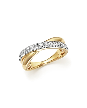 Diamond Pave Crossover Band in 14K Yellow Gold, .30 ct. t.w. - 100% Exclusive
