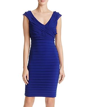 Adrianna Papell V-Neck Shutter Pleated Dress