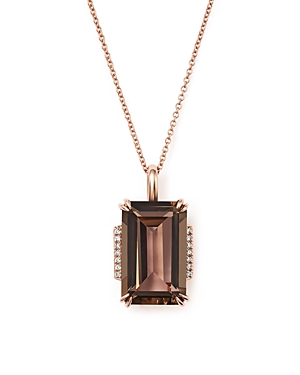 Smoky Quartz and Diamond Pendant Necklace in 14K Rose Gold, 18 - 100% Exclusive