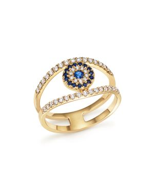Diamond and Sapphire Evil Eye Ring in 14K Yellow Gold