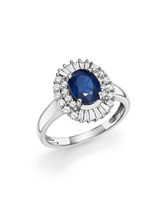 Bloomingdale's - Blue Sapphire Oval and Diamond Ring in 14K White Gold- 100% Exclusive