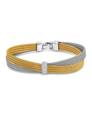 Alor Two Tone Crisscross Cable Bracelet with Diamonds