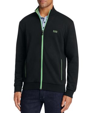 BOSS GREEN Green Skaz Contrast Trim Zip Sweatshirt in Black