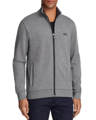 BOSS GREEN Green Skaz Contrast Trim Zip Sweatshirt in Gray