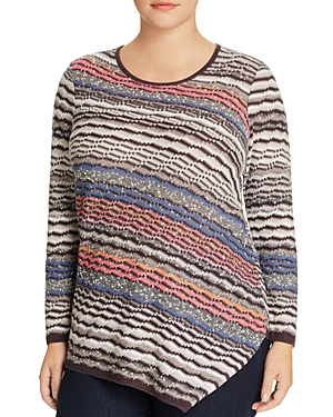 Nic and Zoe Plus Crosswise Asymmetric Stripe Sweater