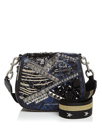 MARC JACOBS - Nomad Embellished Small Snake-Embossed Saddle Bag