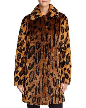 Guess Abigal Leopard Print Faux Fur Coat