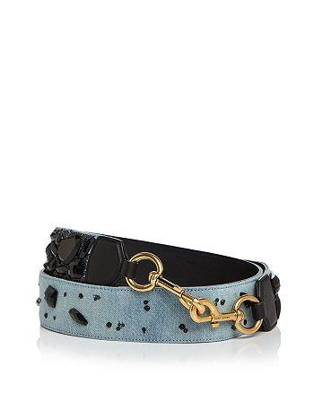 MARC JACOBS - Denim Stone-Embellished Handbag Strap