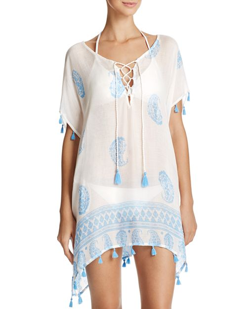 Surf Gypsy - Paisley Border Print Tunic Swim Cover-Up