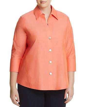 Foxcroft Plus - Paige Three-Quarter Sleeve Poplin Shirt