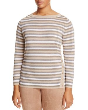 Marina Rinaldi Abigail Metallic Stripe Button Side Sweater