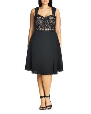 'EYELASH EVIE' LACE & CHIFFON COCKTAIL DRESS
