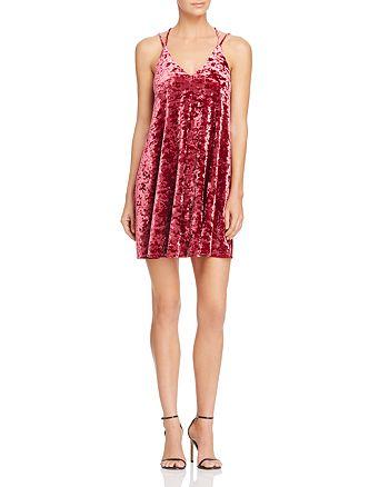 AQUA - Crushed Velvet Slip Dress - 100% Exclusive