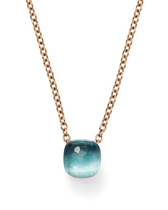Pomellato - Nudo Pendant Necklace with Blue Topaz in 18K Rose and White Gold