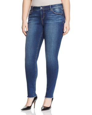 Slink Jeans Frayed-Hem Skinny Jeans in Medium Blue
