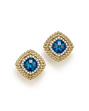 London Blue Topaz and Diamond Beaded Earrings in 14K Yellow Gold - 100% Exclusive