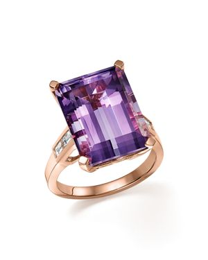 Amethyst Statement Ring with Diamonds in 14K Rose Gold - 100% Exclusive
