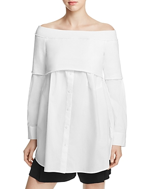 Dkny Off-the-Shoulder Layered-Look Shirt