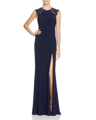 FAVIANA COUTURE Lace Shoulder Gown - 100% Exclusive in Navy