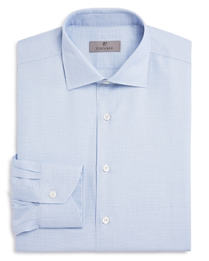 Canali Triangle Square Textured Regular Fit Dress Shirt