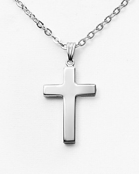 "Bloomingdale's - Sterling Silver Polish Cross Necklace, 16"" - 100% Exclusive"