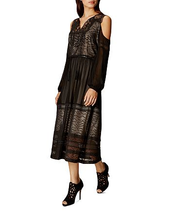 KAREN MILLEN - Mesh & Lace Cold Shoulder Dress