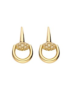 Gucci Horsebit Earrings in 18K Yellow Gold with Brown Diamonds - Bloomingdale's_0
