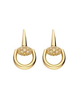 Gucci - Gucci Horsebit Earrings in 18K Yellow Gold with Brown Diamonds