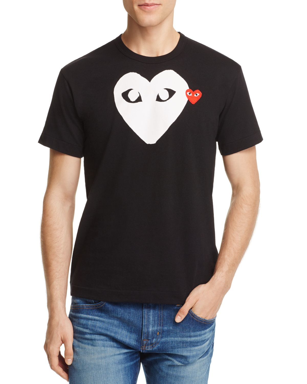 Grey and Red Double Heart T-Shirt Comme Des Garçons