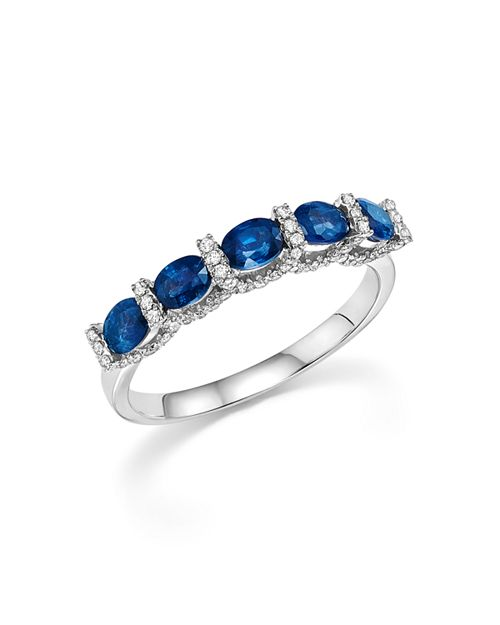 Bloomingdale's - Blue Sapphire Oval and Micro Pavé Diamond Band in 14K White Gold- 100% Exclusive