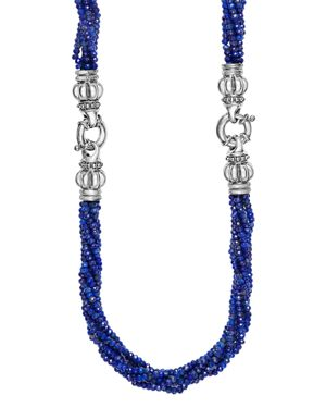 Lagos Sterling Silver Caviar Icon Lapis Beaded Multi Strand Convertible Bracelet and Necklace