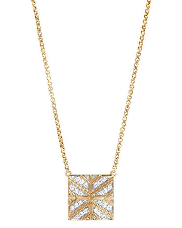 "JOHN HARDY - 18K Yellow Gold Modern Chain Diamond Square Pendant Necklace, 16"""