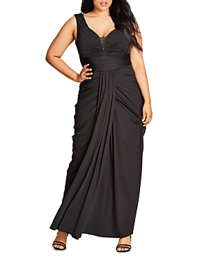 New City Chic Ruched Maxi Dress, Black