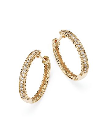 Bloomingdale's - Diamond Beaded Edge Hoop Earrings in 14K Yellow Gold, .20 ct. t.w.- 100% Exclusive