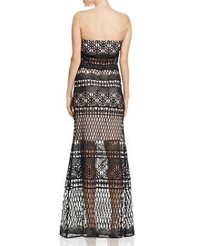 LM Collection - Strapless Crochet Lace Gown