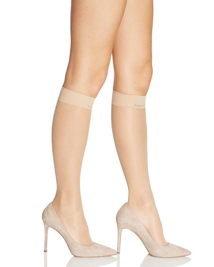 Calvin Klein Matte Ultra Sheer Knee-highs In Buff