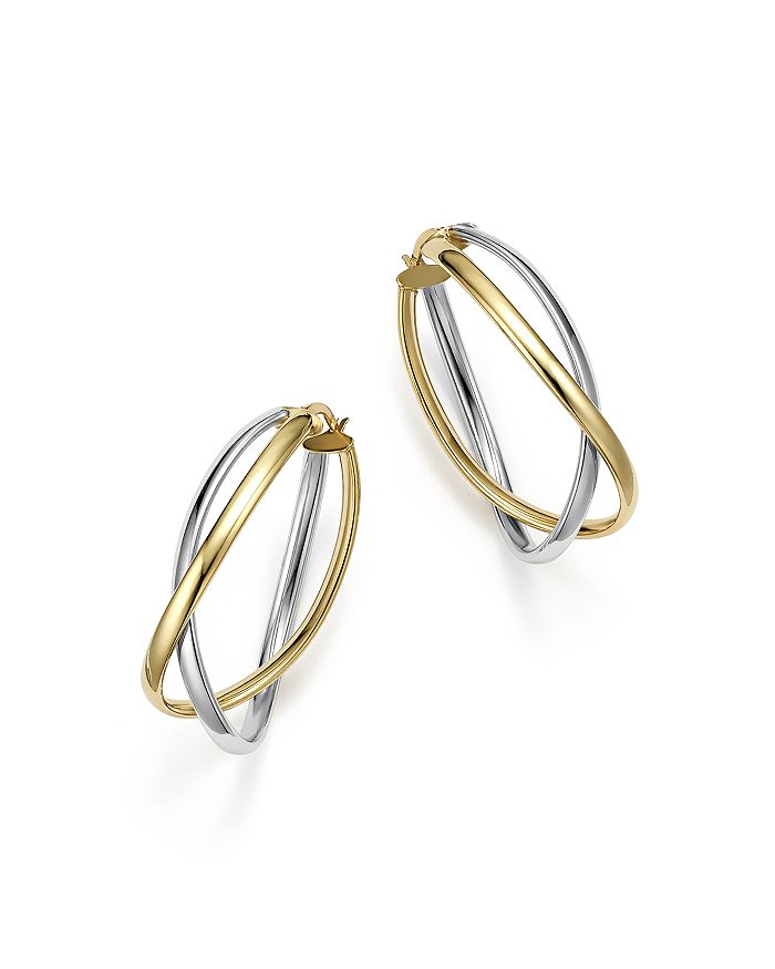 Bloomingdale's - 14K Yellow and White Gold Double Curved Oval Link Hoop Earrings - 100% Exclusive