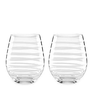 kate spade new york Charlotte Street Stemless Wine Glass, Set of 2