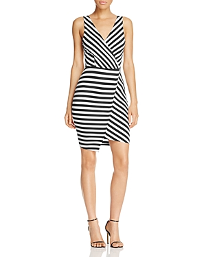 cupcakes and cashmere Sheldon Stripe Faux Wrap Dress
