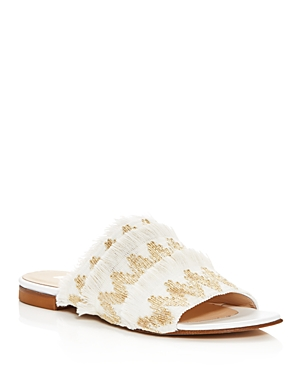 Aska Eres Embroidered Slide Sandals