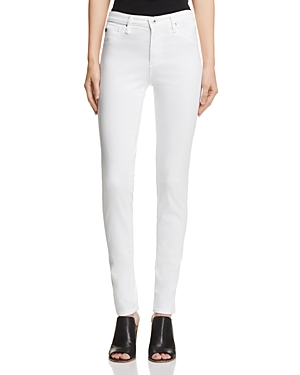 Ag Prima Mid-Rise Cigarette Sateen Jeans in White