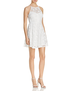 Aqua High Neck Lace Fit-and-Flare Dress - 100% Exclusive