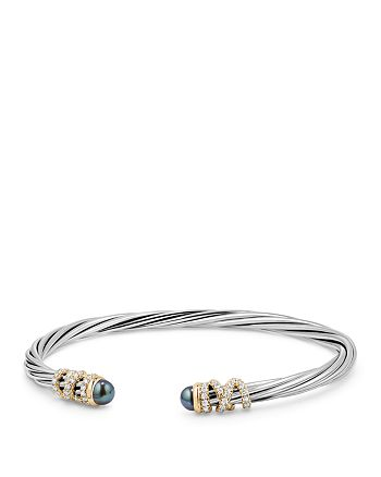 David Yurman - Helena End Station Bracelet with Gray Cultured Freshwater Pearls, Diamonds and 18K Gold