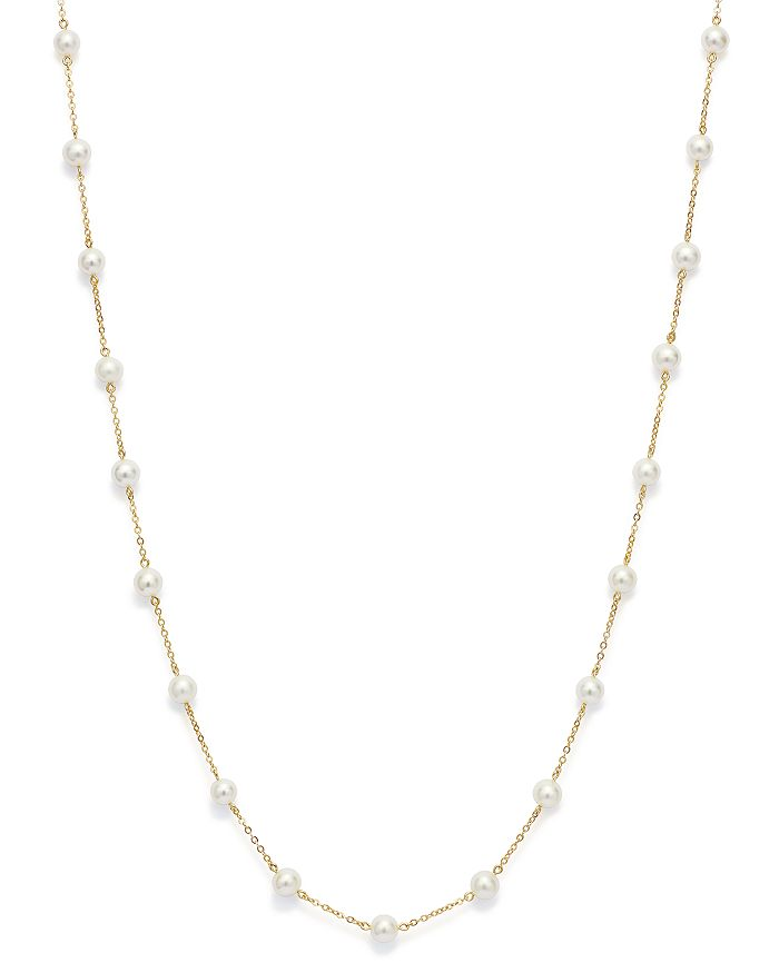 """Bloomingdale's - Cultured Freshwater Pearl Station Necklace in 14K Yellow Gold, 18""""- 100% Exclusive"""